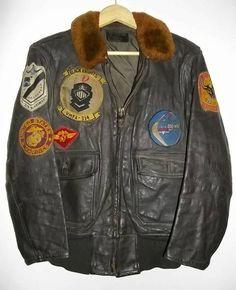 vintage juarez badge | vietnam era us navy leather flight jacket fur collar unit patches size ...