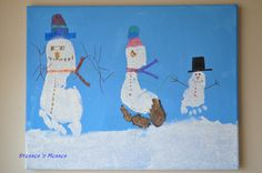 Snowman Footprint Picture-what a cute gift for Grandmas.