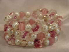 Pink and Pearl Memory Wire Bracelet. $34.99, via Etsy.