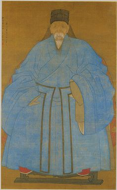 Portrait of the Artist's Great Grand Uncle Yizhai at the Age of Eighty-Five, Ming dynasty, dated xiyou (1561 or 1621) Zude (Chinese, surname unknown; active 16th or early 17th century) China Hanging scroll; ink and color on silk 61 3/4 x 37 7/8 in. (156.8 x 96.2 cm) Inscribed by the artist | Stricte frontalité; sujet noble en attitude; importance trait dans rendu vestimentaire; réalisme facial&volumes corporels avec jeux d'ombres: influence occidentale croissante présence jésuites (Matteo…