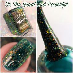 And the final polish from the @glampolish_ Wizardly Ways collection is Oz The Great and Powerful. A green jelly with color shifting iridescent glitters so incredibly gorgeous!  The Wizardly Ways collection releases Thursday November 24th at 3pm EST. The full collection including black friday deals are on my blog (link in bio!) #glampolish #glamwizardlyways #indiepolish #macro #macronails #fbpolishpaws #prsample