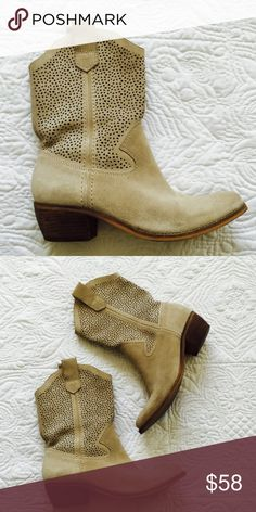"""BCBGeneration boots In good condition. Worn few times only. Cream color & suede leather. Size 7, heel height 2"""", shoe height of front and back 7"""" & side 9"""" tall not including heel. Please ask additional questions if there any. BCBGeneration Shoes Heeled Boots"""