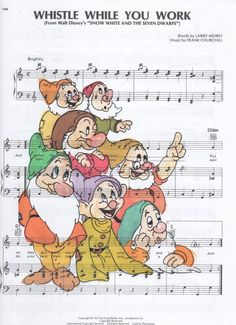 Repurposed Sheet Music Featuring Hand Painted Watercolor of Disney's 7 Dwarfs from Snow White*Buy 2 get 3rd FREE by SimpleeSaid on Etsy