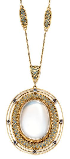 An Arts and Crafts Gold, Moonstone, Plique-à-Jour Enamel and Sapphire Pendant-Necklace, Tiffany & Co., Designed in the Studio of Louis Comfort Tiffany, Circa 1915. Signed Tiffany & Co. #LouisComfort #Tiffany #ArtsAndCrafts #pendant #necklace