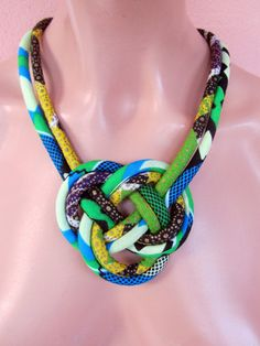 Tribal Jewelry, Josephine knot, Fabric Bib  necklace, African necklace .