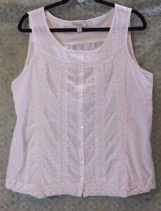Dress Barn Embroidered White Sleeveless Lace Top Size Large  #Dressbarn #TankCami #CasualClubWork