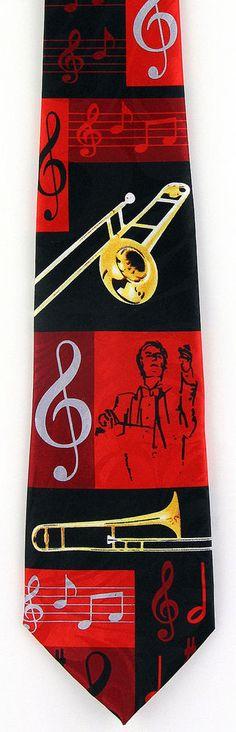 New Brass Conductor Mens Necktie Musical Instrument Trombone Music Note Neck Tie #StevenHarris #NeckTie