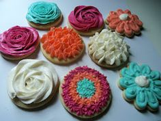 Nevermind the fact that these cookies look delicious. Its the perfect colour scheme!  Coral, Turquoise, and Raspberry