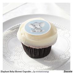 Elephant Baby Shower Cupcake Frosting Round - baby gifts child new born gift idea diy cyo special unique design Baby Shower Parties, Baby Boy Shower, Baby Shower Gifts, Gold Cupcakes, Baby Shower Cupcake Toppers, Baby Shower Supplies, Cupcake Frosting, Baby Shower Princess, Newborn Baby Gifts