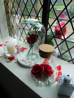 Red rose wedding table candy at rustic chappel located at Maastricht Holland. Styled and created by Rich Art Design.