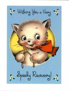 "Le Petit Paperie has illustrated ""Get Well Soon"" card featuring vintage kitty design. Includes 1 blank card and envelope Measures x Get Well Wishes, Get Well Soon Gifts, Vintage Cat, Vintage Paper, Blank Cards And Envelopes, Old Cards, Get Well Cards, Vintage Greeting Cards, Vintage Holiday"