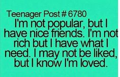 I know I'm loved and that's all that matters Teenager Quotes, Teen Quotes, Funny Quotes, Funny Sms, Random Quotes, Teen Posts, Teenager Posts, Quotes To Live By, Life Quotes