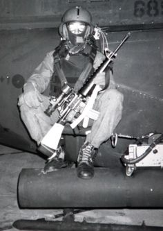 "In the late 1980s, Navy SEAL Master Chief Jim Kauber, flew over the Persian Gulf at night strapped to the outside of an Army OH-58 helicopter, to interdict Iranian gunboats and mine layers. Outfitted with a Litton M-845 night vision device on his M-16, Jim was part of a then-unacknowledged project, ""Earnest Will."""