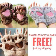 LOVELY CAT PLUSH PAW GLOVES FREE