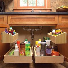 Kitchen Cabinet Storage Solutions: DIY Pull Out Shelves Cheap Kitchen Cabinets, Kitchen Cabinet Storage, Storage Cabinets, Cabinet Drawers, Small Cabinet, Diy Cabinets, Cuisines Diy, Cuisines Design, Diy Pull Out Shelves