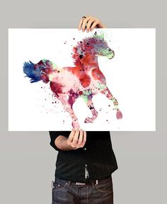 Colorful Horse Watercolor Painting Horse Decor Watercolor