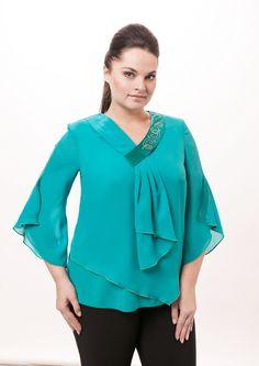 Блуза Westlux 1105 бирюза купить с доставкой по России | Интернет-магазин BelaRosso-shop.ru