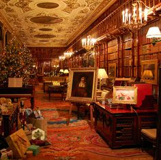 Chatsworth Library at Christmas. England.