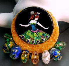 TRIZASDESIGNS- Handmade fused glass pendant, set lampwork bead REF- LB0693-SRA