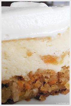 Carrot Cake Cheesecake with Pineapple Cream Cheese Frosting | alternating batter layers baked at once for 50-65 minutes. cool, chill, frost, snarf.