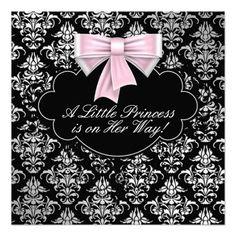 Silver Pink Black Princess Baby Girl Shower Custom Invites