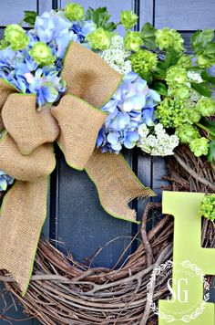 SUMMER HYDRANGEA INITIAL WREATH WITH MONOGRAMMED INITIAL-bow and flowers-stonegableblog.com
