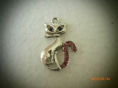 Silver Pewter Cat Charm with Crystal by CustomCraftJewelry on Etsy, $7.99