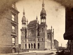 In 1867, Congregation Emanu-El constructed a temple at 43rd Street and Fifth Avenue. It was sold to the Durst family in 1926 and demolished to make way for commercial development a year later.