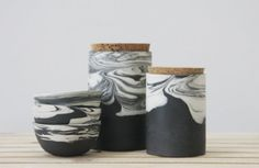 Ceramic set in black and white marbled pattern. ceramic bowl,ceramic serving dish, storge jars,dipping bowl