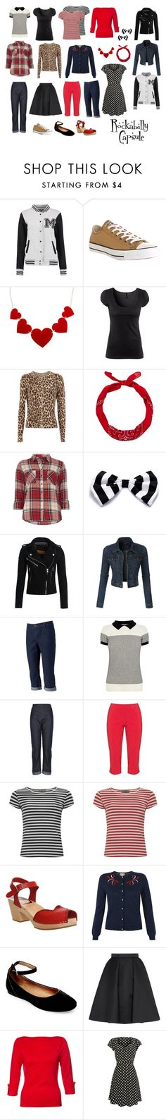 Rockabilly Capsule by christina-sparkle on Polyvore featuring Dorothy Perkins, Oasis, H&M, LE3NO, Superdry, Giles, Croft & Barrow, Swedish Hasbeens, Steve Madden and Converse
