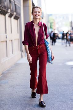 Rocking with red cord kick flares #streetstyle #womensstyling