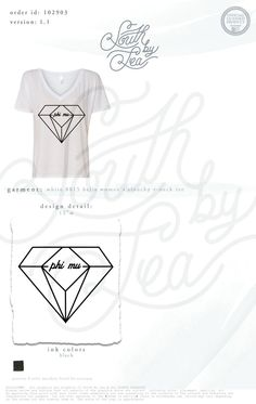 Phi Mu | Diamond T-Shirt Design | South by Sea | Greek Tee Shirts | Greek Tank Tops | Custom Apparel Design | Custom Greek Apparel | Sorority Tee Shirts | Sorority Tanks | Sorority Shirt Designs