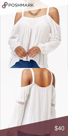 Band of Gypsies White Cold Shoulder Top So cute! Lightweight and comfortable. Fits true to size. Does have adjustable straps (where there's two button holes). Reasonable offers welcomed! ASOS Tops Blouses