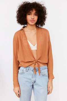 BDG Courtney Tie-Front Open Blouse - Urban Outfitters