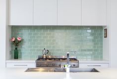 Mint green subway tile splashback (backsplash). Sally Steer Design Wellington, NZ.
