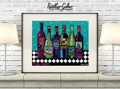 DIGITAL Print File - Pug art Wine Bottles Print Poster of Painting by Heather Galler Modern Pop Art Winery Abstract (HG794)