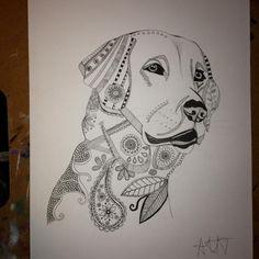 #Labrador #dog #drawing #pen #fineliner #pattern #animal #art
