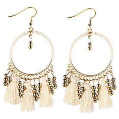 Geometrical Bohemian Tassel Circle Drop Earrings (21 GTQ) ❤ liked on Polyvore featuring jewelry, earrings, boho chic jewelry, boho style jewelry, tassel fringe earrings, bohemian earrings and geometric earrings