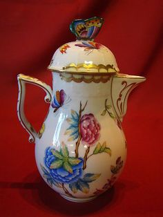Gorgeous Antique Herend Teapot with Many Detailed Flowers | eBay