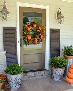 """Fall Front Porch @ DaisyMaeBelle (love the simplicity - says """"Fall"""" without being over done)"""