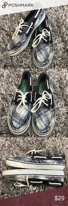 Sperry Top-Siders Sneakers Shoes Blue Plaid Women ⭐️️Women's Size 7.5 ⭐️️sequins  ⭐️️shiny leather ⭐️️some spots on white trim & on bottom  050517-10 🚫trades please Sperry Top-Sider Shoes Sneakers