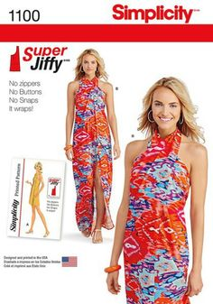 Misses' Super Jiffy Cover Up in Two Length    Misses' Super Jiffy cover up from 1971 features one main pattern piece for super fast sewing. Cover up can be made in two lengths and ties at neck.