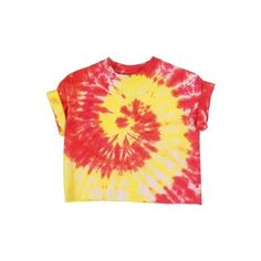 Rokit Recycled Red & Yellow Tie-Dye Cropped T-Shirt - Vintage clothing... ❤ liked on Polyvore