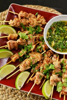 Thai Chicken Skewers with Sweet Chili Sauce, via Knead for Food. That sweet chili sauce is also home made, and sounds pretty good from the ingredients. I Love Food, Good Food, Yummy Food, Tasty, Asian Recipes, Healthy Recipes, Chicken Skewers, Sweet Chili, Asian Cooking