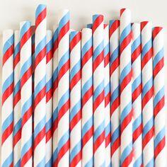 Paper Straws: Red/Bl