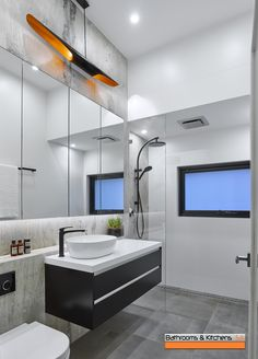 Find and save ideas about Modern bathrooms on our site. See more ideas about Modern bathroom design, Modern bathroom lighting and Modern bathroom. Modern Bathroom Lighting, Modern Bathroom Design, Bathroom Styling, Kitchen Design, Modern Bathrooms, Co Design, Mirror Cabinets, Shower Systems, Walk In Shower