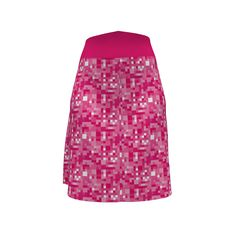 Colette Patterns Ginger Skirt made with Gingezel designs at Spoonflower on Sprout Patterns. This pixel style check is fashionable, the colors hyacinth pink from the #Gingezel Inspired by Spring Collection. #spoonflower #sproutpatterns #pinkskirt #pixelpattern #checkskirt #fashion #DIYfashion #sewingideas