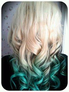 Dip Dye Hair, Dye My Hair, Dip Dyed, Love Hair, Gorgeous Hair, Ombre Hair, Blonde Ombre, Teal Ombre, Aqua Hair