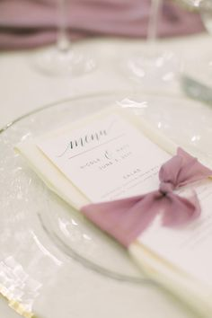 Tie a chiffon ribbon around your menus and napkins for a stylish touch! | Romantic Chiffon Raw Cut Ribbons | Mauve Wedding Decor | Wedding Menus | Wedding Stationery | Wedding Table Decor | Tablescape Ideas | Dinner Menu | Reception Decor | Reception Ideas | #weddingmenu #menus