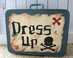hand painted old suitcase dress up clothes